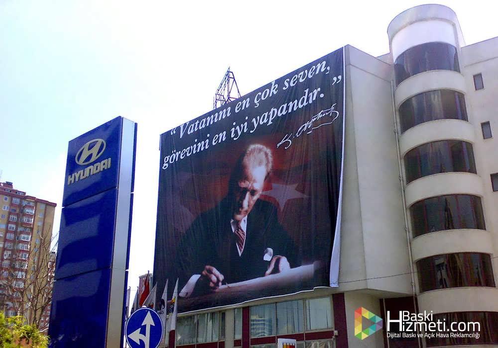 Atatürk poster branda baskı