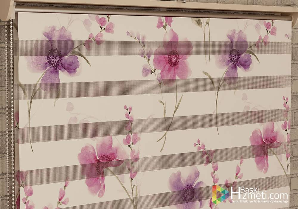 çiçek desenli stor perde baskısı